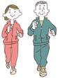 ジョギングする年配の男性と女性