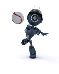 Android playing baseball