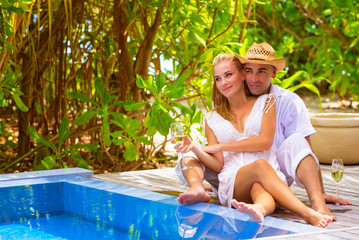 Happy couple on romantic resort
