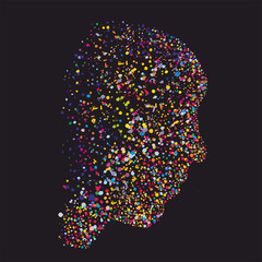 Grunge abstract human head silhouette, made of colourful dots