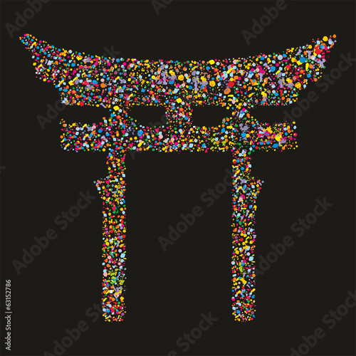 Grunge colourful religious japanese Shinto symbol, vector illust