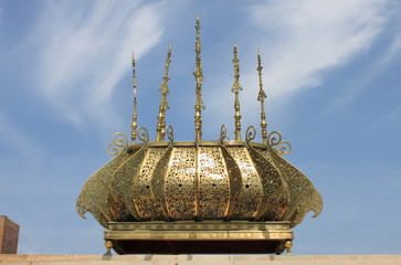 Gilded lamp in the Mausoleum of Rabat, Morocco