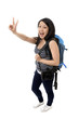 happy asian chinese tourist woman okay sign with hand