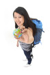 asian traveler woman with backpack and world globe