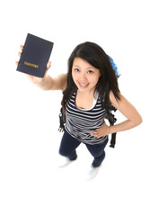 Young attractive asian chinese woman traveler showing passport