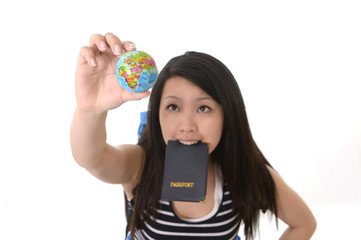 chinese traveler holding passport search destination