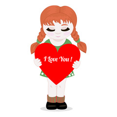 Girl with heart.Vector illustration.