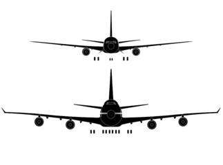 Passenger jet liner front view