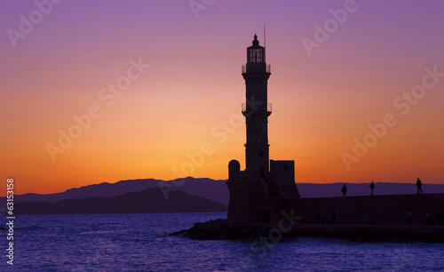 Hania harbor with lighthouse at sunset, Crete, Greece