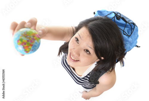 asian chinese traveler woman with backpack and world globe