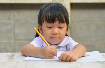 Asian cute student do her homework1