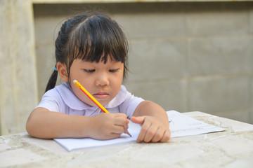 Asian cute student do her homework2
