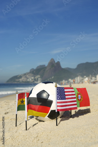 International Football Country Flags Soccer Ball Rio Brazil