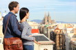 Barcelona - romantic couple looking at city view
