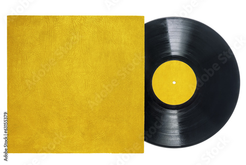 Retro Long Play Vinyl Record with Gold Sleeve and Label.