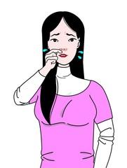 鼻水で困る女性