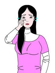 目のかゆみで困る女性