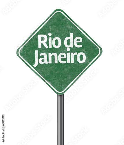 Rio de Janeiro road sign isolated on white background
