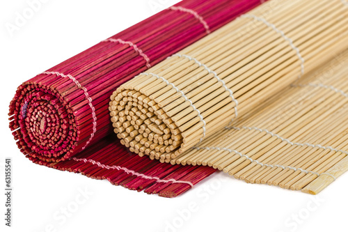 Bamboo mats for asian food, isolated on white background