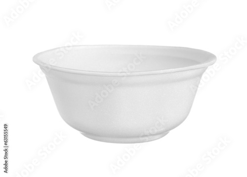 Styrofoam bowl isolated on white background