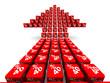 Стрелка из красных кубиков с надписью 40% на светлом фоне