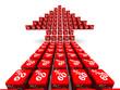 Стрелка из красных кубиков с надписью 60% на светлом фоне