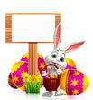 easter bunny with wooden sign and egg basket