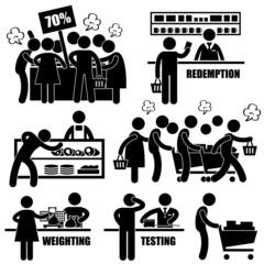 Supermarket Market Shoppers Crazy Rushing Shopping Promotion