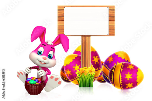 easter bunny with sign and egg basket