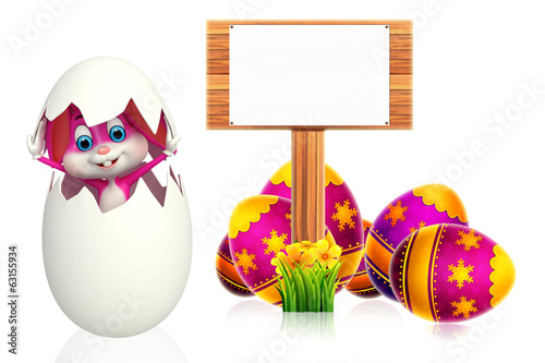 easter bunny with wooden sign