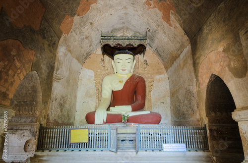 Ancient seated buddha statue in Bagan, Myanmar