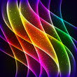 Neon rainbow waves vector background