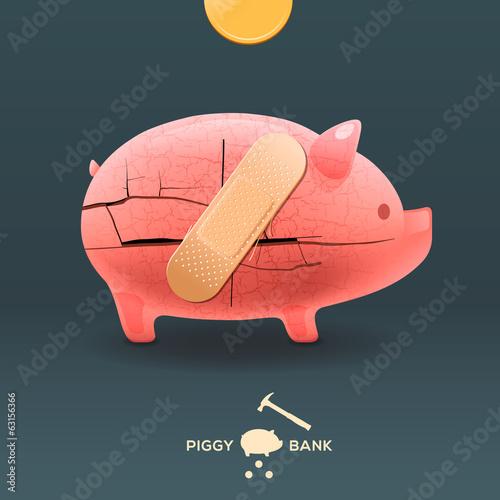 Piggy breaking moneybox with golden coin, vector Eps10 image.