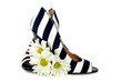 striped pumps with daisy bouquet