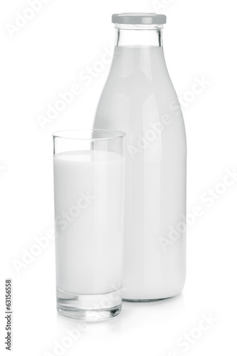 Milk bottle and glass