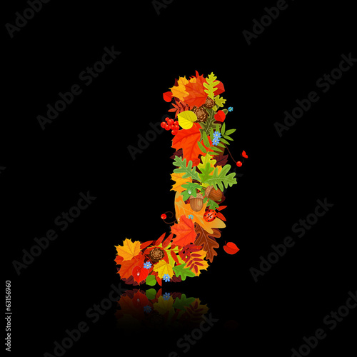Beautiful autumn leaves. letter j