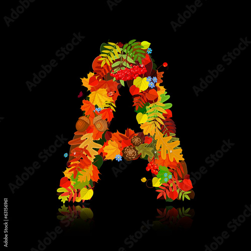 Beautiful autumn leaves. letter a