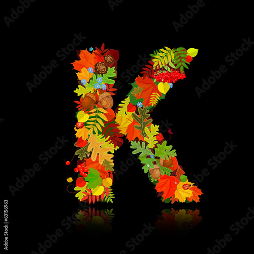 Beautiful autumn leaves. letter k