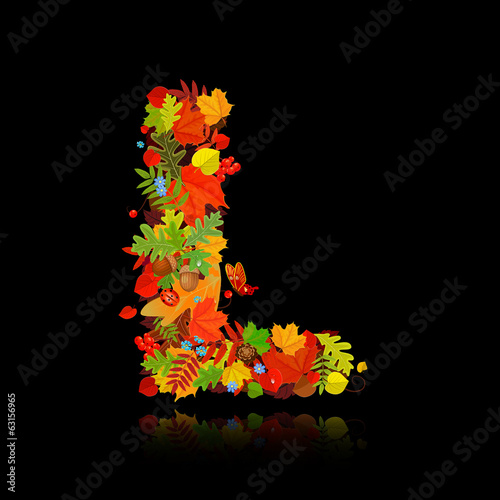 Beautiful autumn leaves. letter l