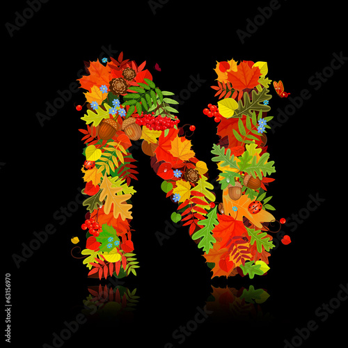 Beautiful autumn leaves. letter n