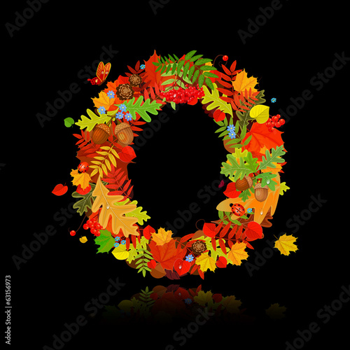 Beautiful autumn leaves. letter o