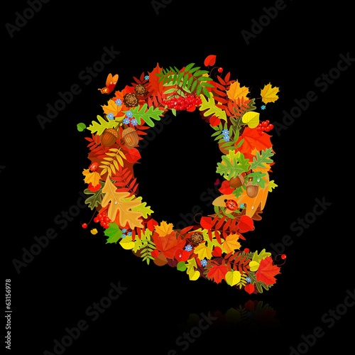 Beautiful autumn leaves. letter q