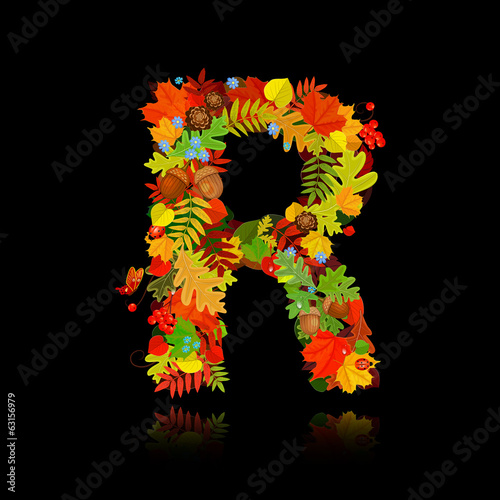 Beautiful autumn leaves. letter r