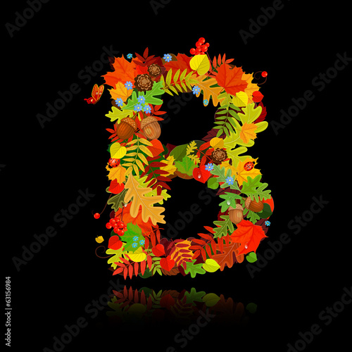 Beautiful autumn leaves. letter b