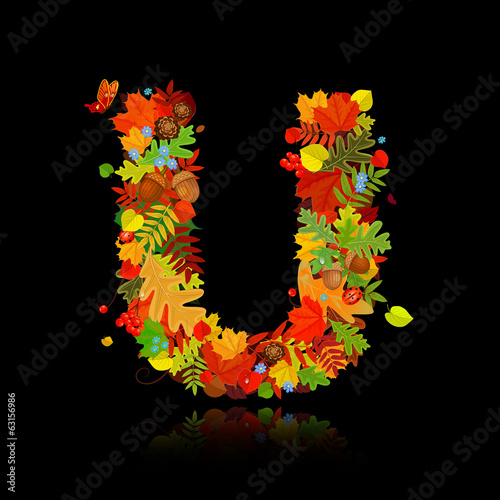 Beautiful autumn leaves. letter u