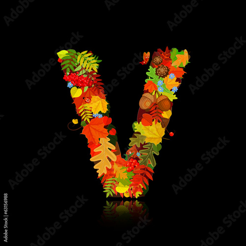 Beautiful autumn leaves. letter v