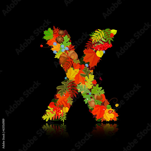 Beautiful autumn leaves. letter x