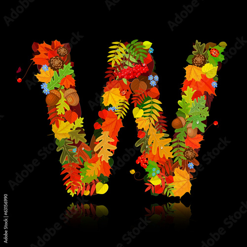 Beautiful autumn leaves. letter w