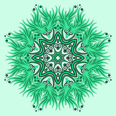 Mandala ornament in green colors