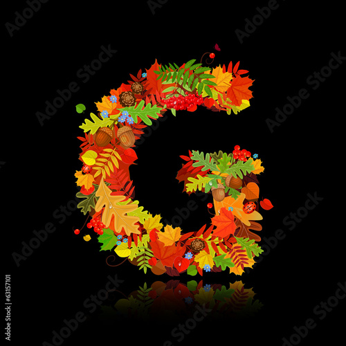 Beautiful autumn leaves. letter g